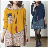 Free Shipping 2015 New Arrival Pregnant Women Long Sleeve Hooded Dress Maternity Floral Patchwork Plus Size Fashion A-line Dress
