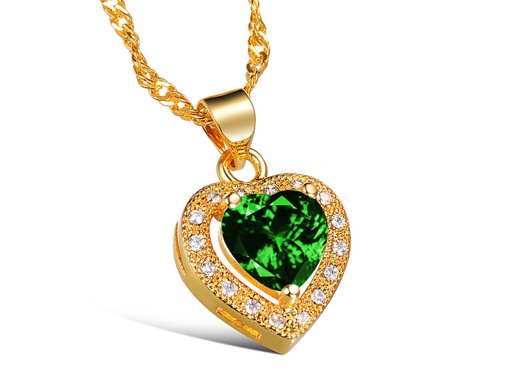 New Fashion Crystal Jewelry 18K Gold Plated Necklaces Love Heart In Hearts With CZ Diamond Lovers