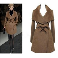 2014 New Women winter coat Fashion wool jacket medium-long design wool coat with Sashes outerwear trench coat for women