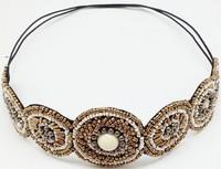 New Arrival freeshipping wholesale retail fashion vintage beaded gems with rhinstone headband popular fashion hair accessories