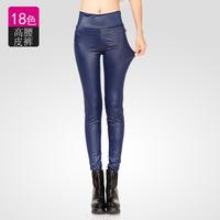 Women's winter new matte leather PU women's high elastic waist was thin leggings