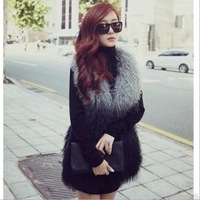 2014 Fashion Women Long V-Neck Plush Faux Fur Sleeveless Vest Ladies Gradient Covered Button Mongolia Sheep Fur Waistcoat
