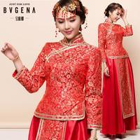 ON Sale Promotion dress show chinese style clothes pratensis bride wedding dress  gown dragon cheongsam kimono Vintage wedding