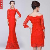 2014 red Fishtail embroidery Bandage dress Bride lace cheongsam slit neckline evening dress half sleeve bandage the bride 2014