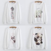 2014 New fleece Women Hoody Hoodies panda  Printed Sweatshirt Sport Suit Pullovers Tracksuits Tops Outerwear For Woman