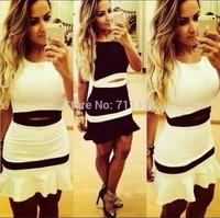 2014 New Fashion Women's dress Mixed Colors Sleeveless Slim Waist Knitted Women Dress Plus Size
