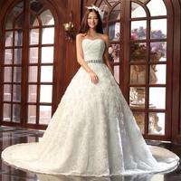 2014 Fashion bandage Strapless  wedding tube top long trailing maternity strap diamond ornaments lace bride wedding dress formal