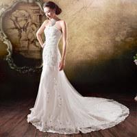 Fashion stomacher Dimensional cutting 2014 short trailing the bride wedding dress princess fish  Small trailing wedding dress