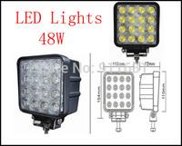 Car 48W  LED Car Work Light Spot Flood Working Lamp Truck Trailer SUV 12V 24V Daytime Running Lights DRL 16LED