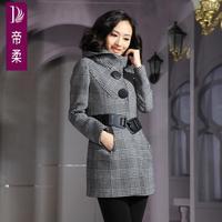 Women's 2014 woolen overcoat trench woolen outerwear female medium-long plaid  latest dress designs  Slim single-breasted hot