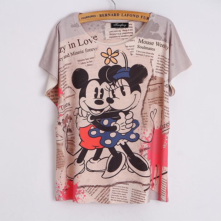 Top Sale Cartoon animal print t shirt women tops tees batwing sleeve T-shirt 3D digital printed summer loose plus size T shirts(China (Mainland))