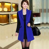 Women's 2014 autumn and winter woolen outerwear female medium-long fashion suit cashmere overcoat Suit collar  paragraph Slim