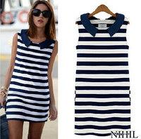 Blue & White Striped Women Summer Dress Causal Plus Size Women Dresses Peter Pan Collar New 2014 Korean Fashion Cotton Clothing