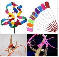 Wholesale 10 pcs/lot 4M Gym Dance Ribbon Rhythmic Art Gymnastic Streamer Twirling Rod Stick 11 Colors