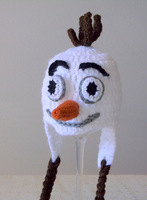 free shipping,Pure handmade crochet Snowman earflap hat inpired by Olaf from Frozen,Child's- adult size, frozen hat