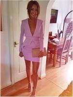 Freeshipping Autumn New 2014 women pink purple deep v neck long sleeve celebrity vestidos de fiesta party prom dress