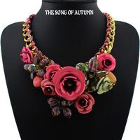 2014 New Design Brand Paint Metal Flower Necklace Luxury Women jewelry Crystal Necklaces & Pendants