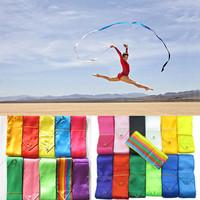 Wholesale 100pcs/lot  Free Shipping  HOT 4M Gym Dance Ribbon Rhythmic Art Gymnastic Streamer Twirling Rod Stick 12 Colors