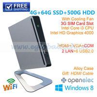 3D Gaming Mini Computer With 4GB Ram 64GB SSD 500G HDD Intel Dual Core I3 3217U Intel HD 4000 Graphics DHL Free Shipping Umpc
