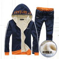 2014 new winter male hooded sweater cardigan suit men's sportswear leisure plus velvet sport suit