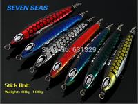 Free Shipping M&W Jigging Fishing Lure  Iron Bait Stick Bait Series 100G Fishing Tackle