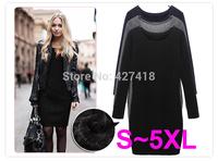 New 2014 Autumn And Winter Velvet One-piece Dress Fashion Casual Slim Long-sleeve Basic Dresses Black Gray Plus Size S ~5XL