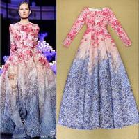 Top Quality New Fashion Long Dress Autumn Women Ocean Flower Romantic Print Long Sleeve A-Line Formal Occasion Evening Dress