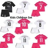 2015 Kids Boy Real Madrid Black Ronaldo James Soccer Jersey +Short Youth ninos 14 15 Camiseta Away Pink Home Child Uniforms Set