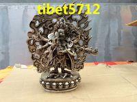 22 cm tall MAHAKALA Tibet Mongolei-Schutzherr Buddha Bronze silver buddha statue