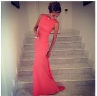 2014 New Fashion Women Slim Long Party Club Evening Dress Hot Sleeveless Lady Top Quality Vestidos Free Shipping