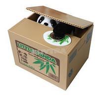 2014 New Lovely Stealing Coins Panda Cent Penny Saving Money Box Pot Case Piggy Bank