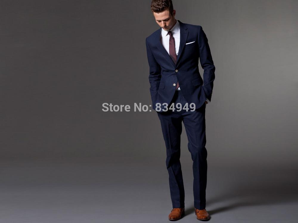 Mens Blue Suit Wedding Custom Made Dark Blue Men Suit