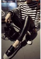 L378B New 2014 autumn Korean woman's black PU legging slim classic fashion high elastic flat faux leather pants Leggings Women