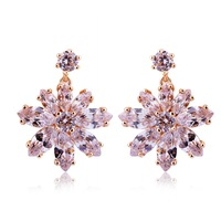 JE015 2014 Engagement Jewelry 18K Gold Plated Flower Earrings with Paved Micro AAA Cubic Zircon Stone For Women Christmas Gift
