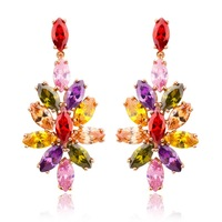 JE022 2015 New18K Gold Plated Flower Earrings with Paved Micro AAA Cubic Zircon Stone For Women Top Selling Engagement Jewelry