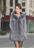 2014 new long silver fox silver fox fur vest fox fur coat factory direct wholesale leather vest plus free shipping