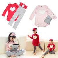 New 2014 Girls Clothing Sets Headband Coat Pants Heart Two Colors Children Accessories Kids Heart Coat Leggings Free Shipping