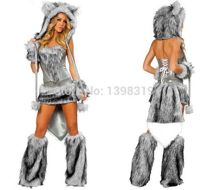 Free shipping 2014 Halloween /Christmas Grey Big Bad Wolf Night Club DS Performance /Daedric Smithing Cat Girl Wolf Costumes(China (Mainland))