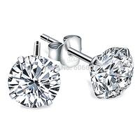 Wholesale GNE0541 Genuine 925 Sterling Silver Earrings Fashion Jewelry 5MM Cubic Zircon Stud Earrings for Women Free Shipping