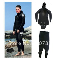 9mm Open cell CR neoprene spear fishing wetsuit ,keep warm wetsuit in 2 pieces