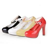 Women Pumps Faux Leather Glitter Mary Jane Women Shoes High Heels Platform Ankle Strap Fashion Wedding Bridal Ladies Shoes W2052