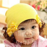 1pcs/lot Spring and Autumn Kids hats Korean double bow baby wig hat children warm cap headgear baby girls 113