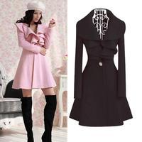 Good Look Fitness Long Sleeve Ruffles Warm Women Coats Sweet Turn-down Collar Winter One Button Casacos Femininos 3082