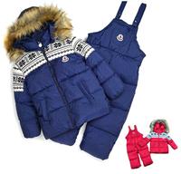 Windproof Warm Coats Jackets +Suspenders Trousers Children's Winter Clothing Set Boy's Girls Ski Suit Sport Sets ILTZ5001
