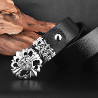 male punk fashion trend of young men wild tide leather belt personality buckle