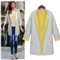 Autumn Winter Fashion Cardigan Wool Coats Women Leisure Long Jackets Long Sleeve Open Stitch Turn-down Collar Loose Coat C589A7S