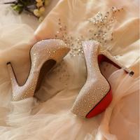 2014 Womens Genuine Leather Red Bottom Round Toe Platform Stiletto Ivory White Rhinestone Bridal Wedding Shoes Prom High Heels