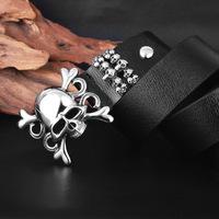 Men 's leather belt lead mixed batch export punk personality titanium steel belt buckle
