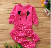 Fashion baby girls toddler pink Minnie cartoon clothes set long sleeve Minnie hoodies + polka dos pants 0-24 Mo
