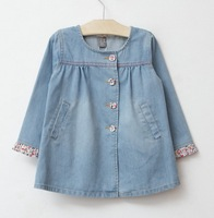 6pcs/lot Floral buttons flanging doll girls  denim jacket